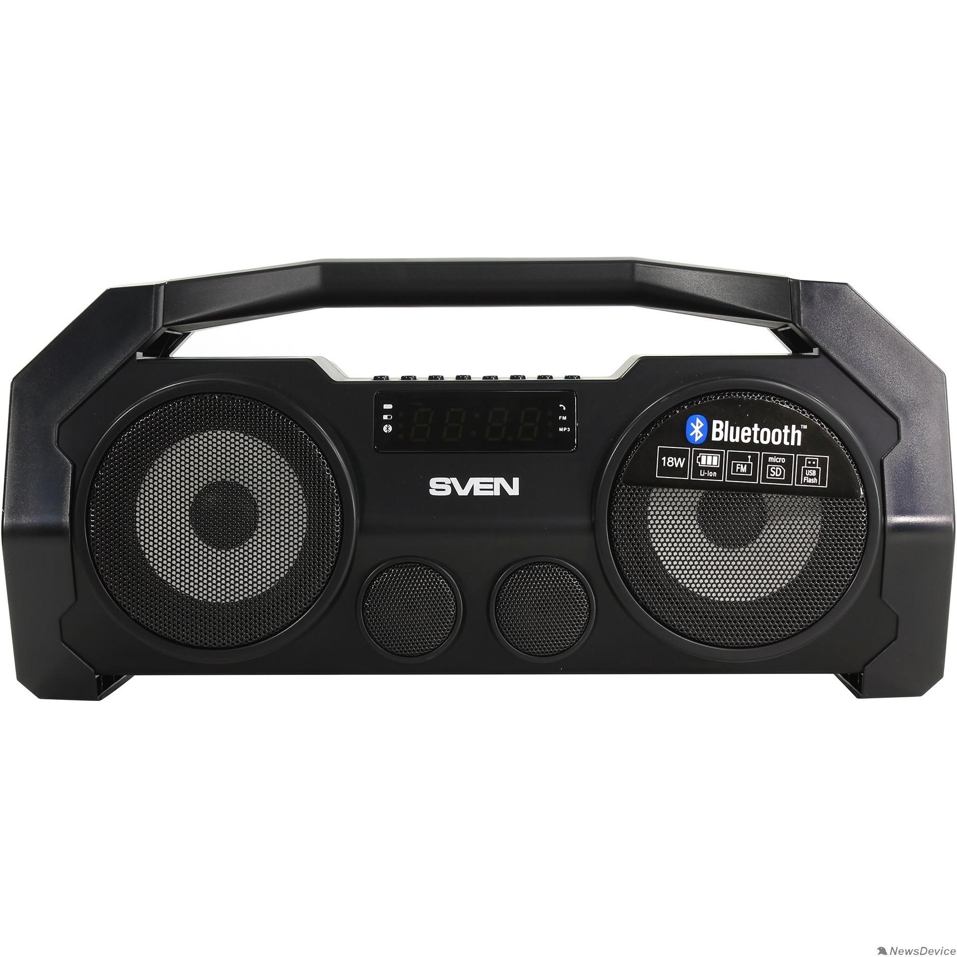 Колонки SVEN PS-465, черный (18 Вт, Bluetooth, FM, USB, microSD, LED-дисплей, 1800мА*ч)