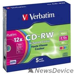 Диск Verbatim  Диски CD-RW  8-12x 700Mb 80min (Slim Case, 5 шт.) 43167