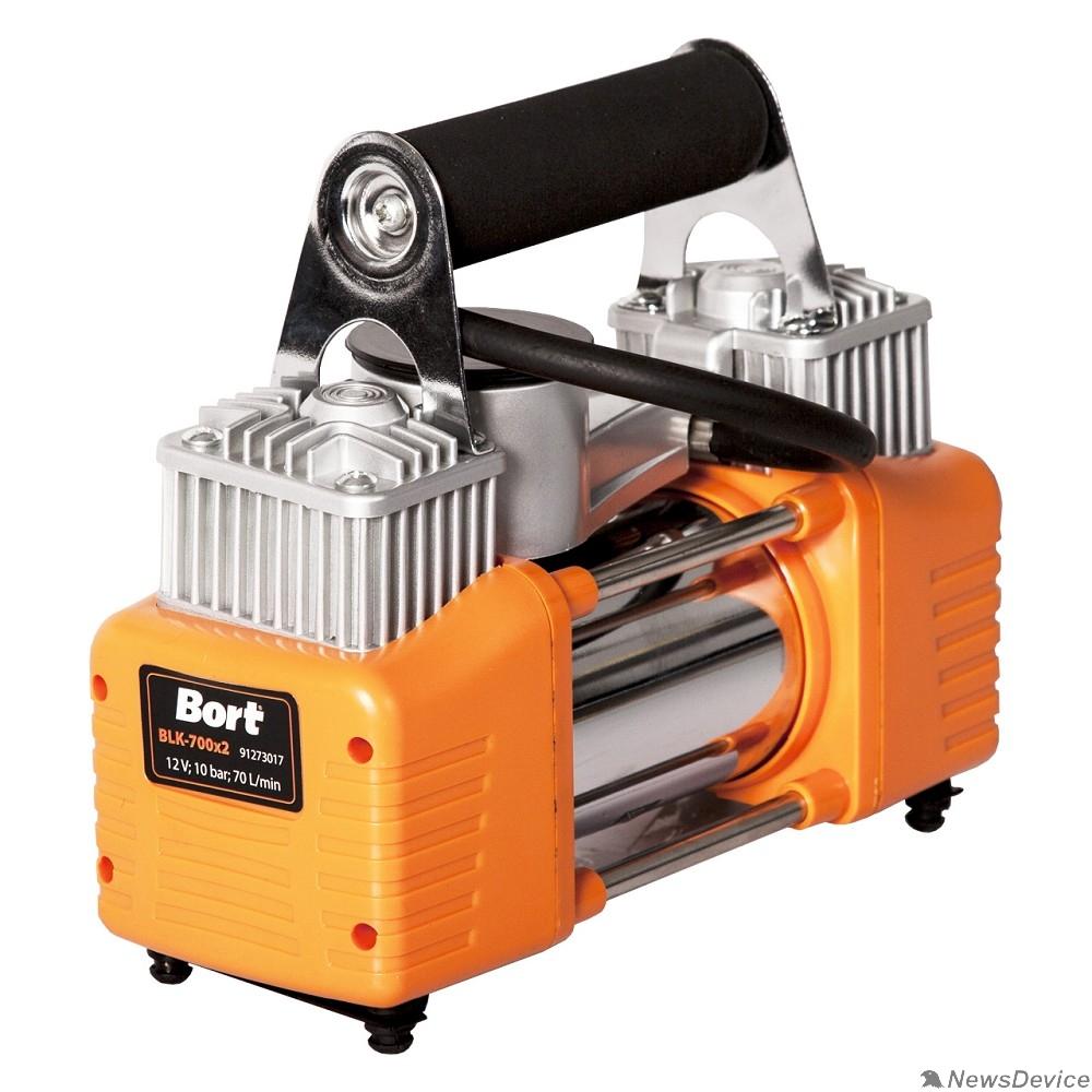Компрессоры Bort BLK-700x2 Компрессор автомобильный 91274014  70 л/мин, 10 бар, 12 В, 200 Вт, 4000 об/мин, 2.7 кг, набор аксессуаров 6 шт