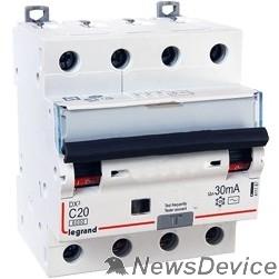 Дифавтоматы Legrand 411187 Автоматический выключатель дифференциального тока DX? 6000 - 10 кА - тип характеристики С - 4П - 400 В~ - 20 А - тип  A С  - 30 мА - 4 модуля