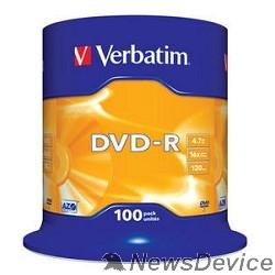 Диск Verbatim  Диски DVD-R  4.7Gb 16-х, 100 шт, Cake Box (43549)