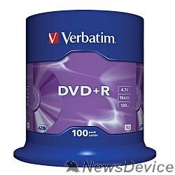 Диск Verbatim  Диски DVD+R  4.7Gb 16-х, 100шт, Cake Box (43551)