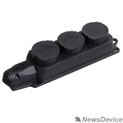 Разъёмы, колодки, тройники Iek PKR61-016-2-K02 РБ33-1-0м Розетка трехместная с защитными крышками ОМЕГА IP44 черная