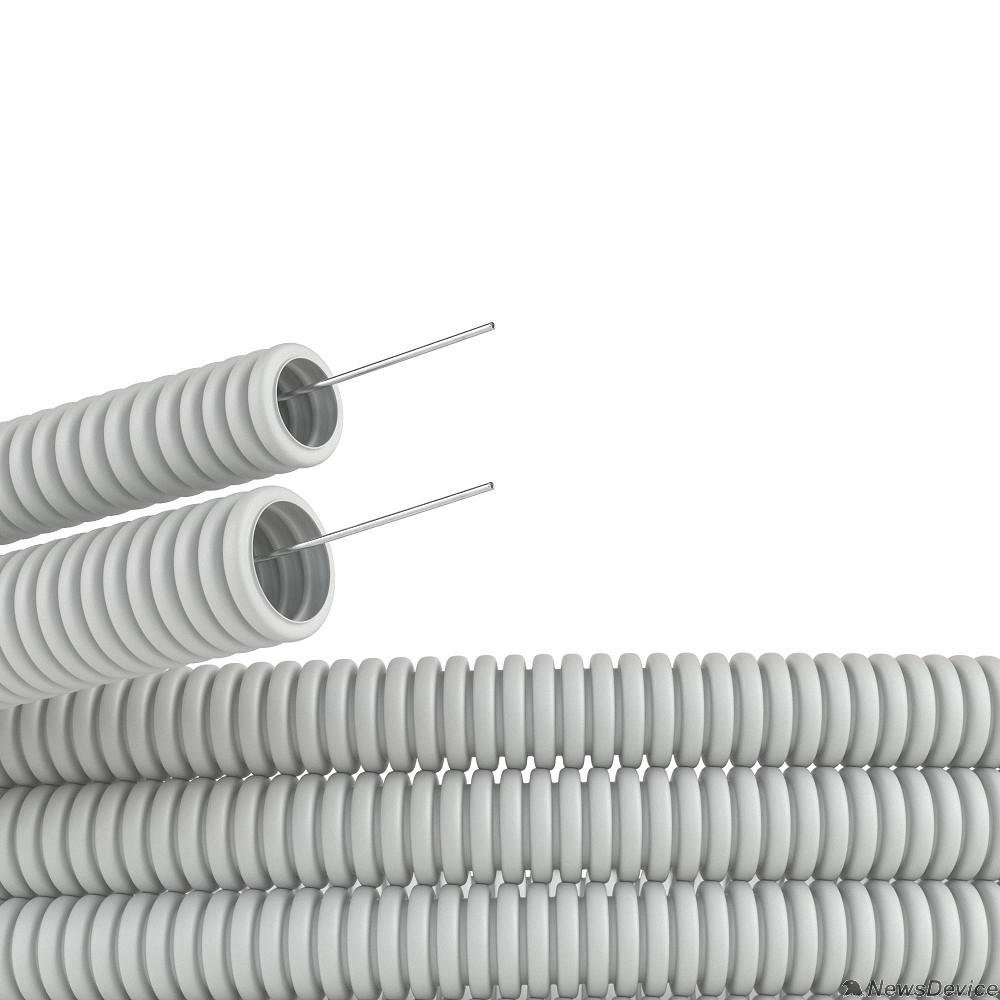 трубы Dkc 91525 Труба ПВХ гибкая гофр. д.25 мм , тяжёлая с протяжкой, 50м, цвет серый