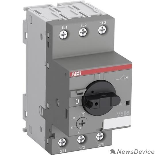 Контакторы АВВ ABB 1SAM250000R1011 Автоматич.выключ. MS116-16.0 16 кА с регулир. тепловой защитой 10A-16А Класс тепл. расцепит. 10