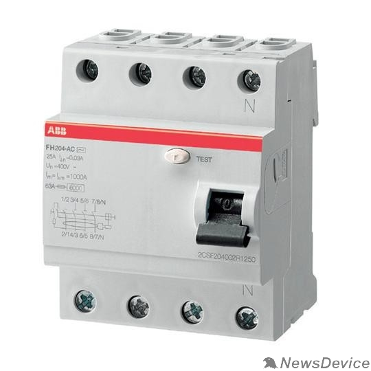 Аксессуары для выключателей нагрузки ABB 2CSF204004R1630 Выкл.диф.тока 4мод. FH204 AC-63/0,03