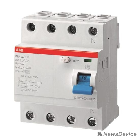 Аксессуары для выключателей нагрузки ABB 2CSF204001R1250 Выкл.диф.тока 4мод. F204 AC-25/0,03