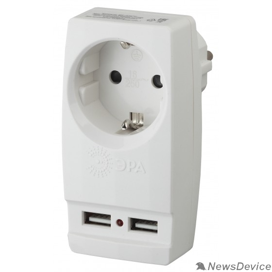 """ЭРА Удлинители бытовые, Сетевые фильтры ЭРА Б0026332 Адаптер """"Polynom"""" SP-1e-USB-W 1гн 220V + 2xUSB 2100mA, c заземл, (белый)"""