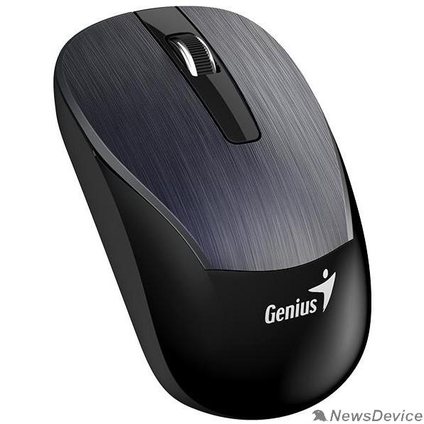 Мышь Genius Мышь ECO-8015 Iron Gray  шероховатое металлическое покрытие, оптическая, 800/1200/1600 dpi, радио 2,4 Ггц, аккумулятор, USB  31030005402