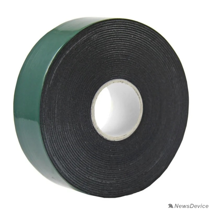 Скотч  Двухсторонний скотч REXANT, зеленого цвета на черной основе, 30мм, 5метров 09-6130