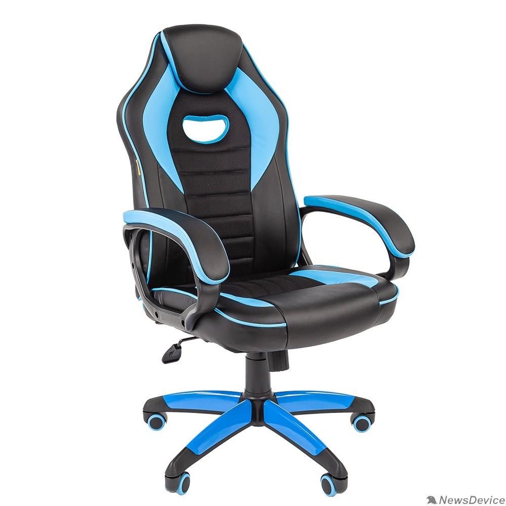 Офисные кресла Офисное кресло Chairman   game 16 Россия экопремиум черный/голубой (7024556)