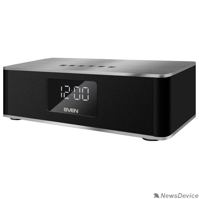 Колонки SVEN PS-190, черный-серебро (10 Вт, Bluetooth, FM, USB, microSD, LED-дисплей, часы, 2000мА*ч)