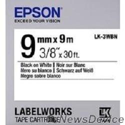 Расходные материалы EPSON C53S653003 Термотрансферная лента для Epson LK-3WBN (9мм x 9м, Black on White)