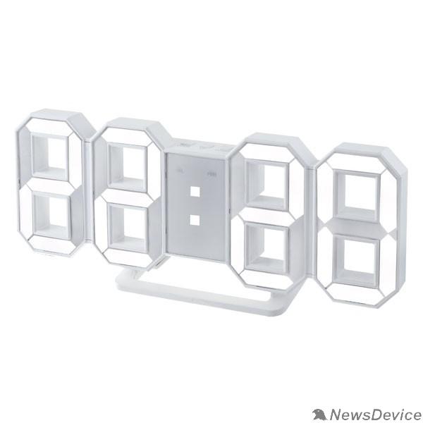 "Колонки Perfeo LED часы-будильник ""LUMINOUS"", белый корпус / белая подсветка (PF-663)"