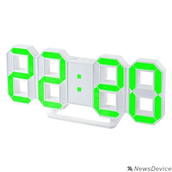 "Колонки Perfeo LED часы-будильник ""LUMINOUS"", белый корпус / зелёная подсветка (PF-663)"