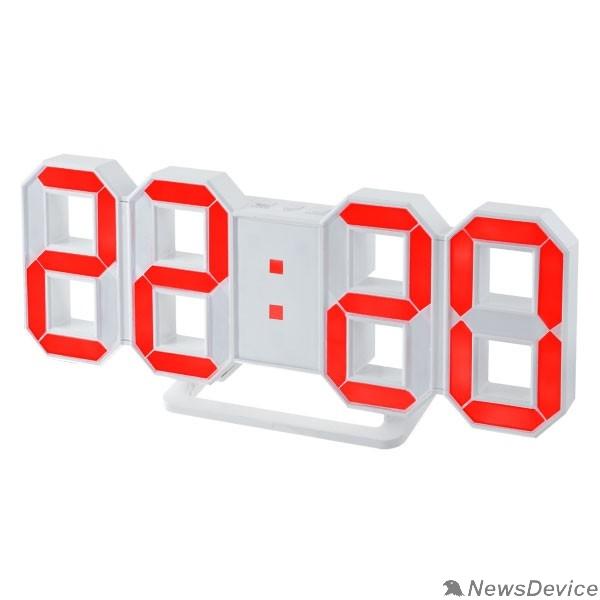 "Колонки Perfeo LED часы-будильник ""LUMINOUS"", белый корпус / красная подсветка (PF-663)"