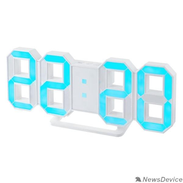"Колонки Perfeo LED часы-будильник ""LUMINOUS"", белый корпус / синяя подсветка (PF-663)"