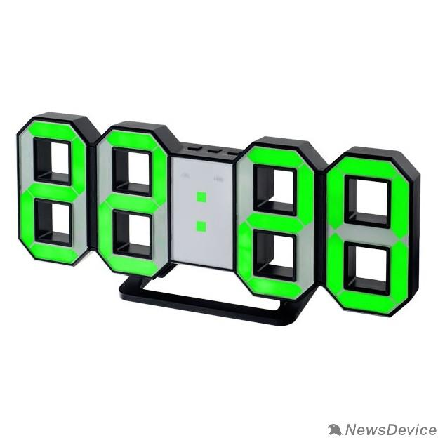 """Колонки Perfeo LED часы-будильник """"LUMINOUS"""", черный корпус / зелёная подсветка (PF-663)"""