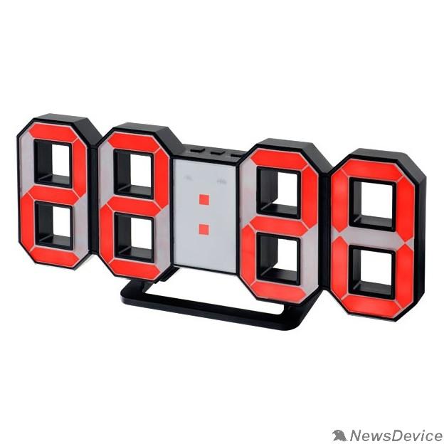 """Колонки Perfeo LED часы-будильник """"LUMINOUS"""", черный корпус / красная подсветка (PF-663)"""