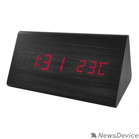 "Колонки Perfeo LED часы-будильник ""Pyramid"", чёрный корпус / красная подсветка (PF-S710T) время, температур"