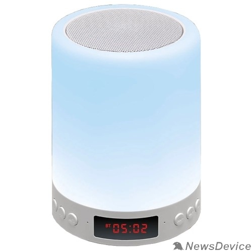 Колонки Ginzzu Ginzzu GM-893W, BT-Колонка 5W/LED/RGB/TF/AUX/FM/часы/будильник
