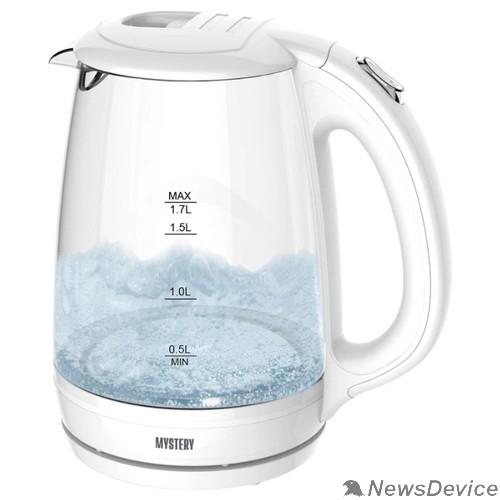 Чайник MYSTERY MEK-1642 Чайник, Мощность: 1800 Вт, Объём: 1,7 л., LED подсветка резервуара для воды, Стеклянный корпус, Цвет: Белый