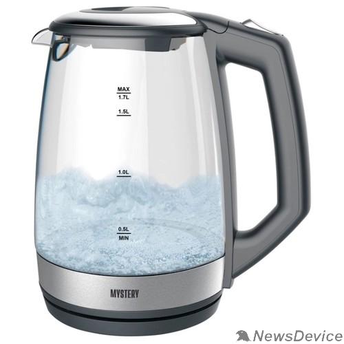 Чайник MYSTERY MEK-1643 Чайник, Мощность: 1800 Вт, Объём: 1,7 л., LED подсветка резервуара для воды, Стеклянный корпус, Цвет: Чёрный