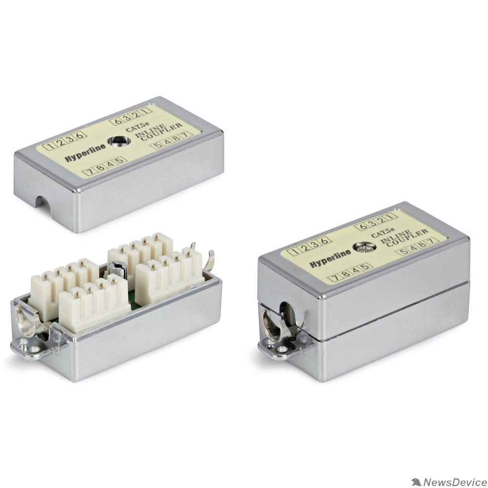 Монтажное оборудование Hyperline CA-IDC-C5e-SH-F-WH Проходной адаптер (coupler), Dual IDC, категория 5e, 4 пары, экранированный