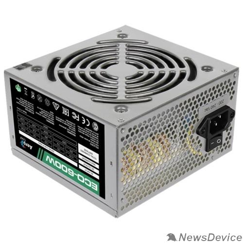 Блок питания Aerocool 600W Retail ECO-600W ATX v2.3 Haswell, fan 12cm, 400mm cable, power cord, 20+4P, 12V 4+4P, 1x PCI-E 6+2P, 4x SATA, 3x PATA, 1x F