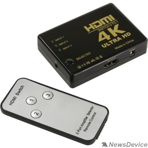 Переходник ORIENT HDMI 4K Switch HS0301H-IR 3->1, HDMI 1.4/3D, UHDTV 4K(3840x2160)/HDTV1080p/1080i/720p, HDCP1.2, внешний ИК приемник, пульт ДУ, питание от HDMI, пл.корпус (30675)