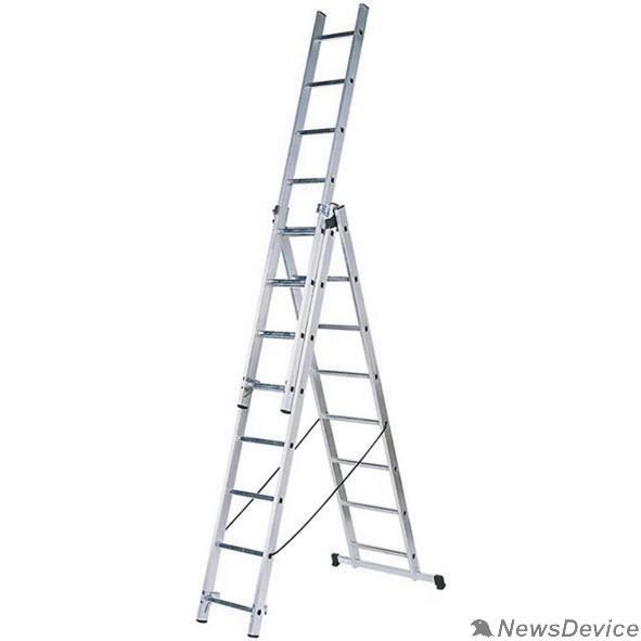 Лестницы, стремянки FIT РОС Лестница трехсекционная алюминиевая, 3 х 9 ступеней, H=257/426/591 см, вес 11,18 кг          65434