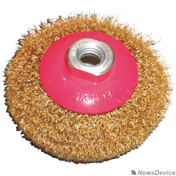 Щетки для дрелей FIT IT Корщетка-колесо с наклоном, гайка М14, стальная волнистая латунированная проволока 115 мм 39051