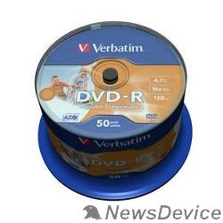 Диск Verbatim  Диски DVD-R  4.7Gb 16х, Wide Photo InkJet Printable, 50шт, Cake Box (43533/43649)