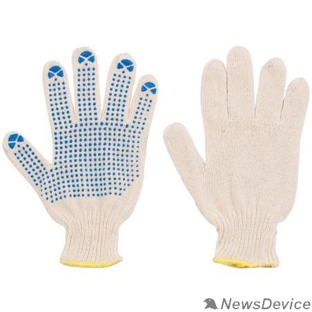 Перчатки РОС Перчатки вязаные (3 нити), х/б, с ПВХ, 10 класс вязки 12485