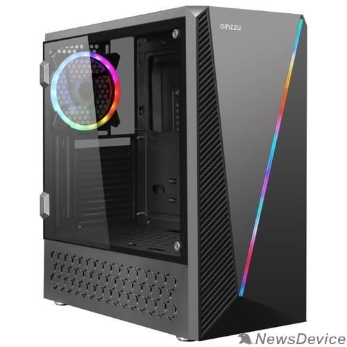 корпус Ginzzu SL200 FAN Rear 12CM LED  1*USB 3.0,1*USB 2.0,AU Window w/o PSU
