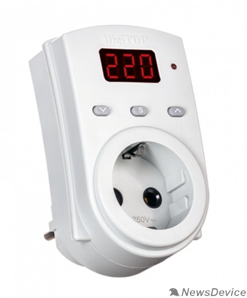 DigiTOP Реле, терморегуляторы, таймеры DigiTOP Vp-10AS Реле напряжения однофазное в розетку, 100-400В, макс. 10А, 5-600 сек.