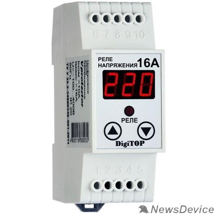DigiTOP Реле, терморегуляторы, таймеры DigiTOP Vp-16A Реле напряжения однофазное на DIN-рейку, 0-400В, макс. 16А, 5-600 сек.