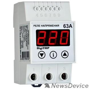 DigiTOP Реле, терморегуляторы, таймеры DigiTOP Vp-63A Реле напряжения однофазное на DIN-рейку, 50-400В, макс. 80А, 5-600 сек.