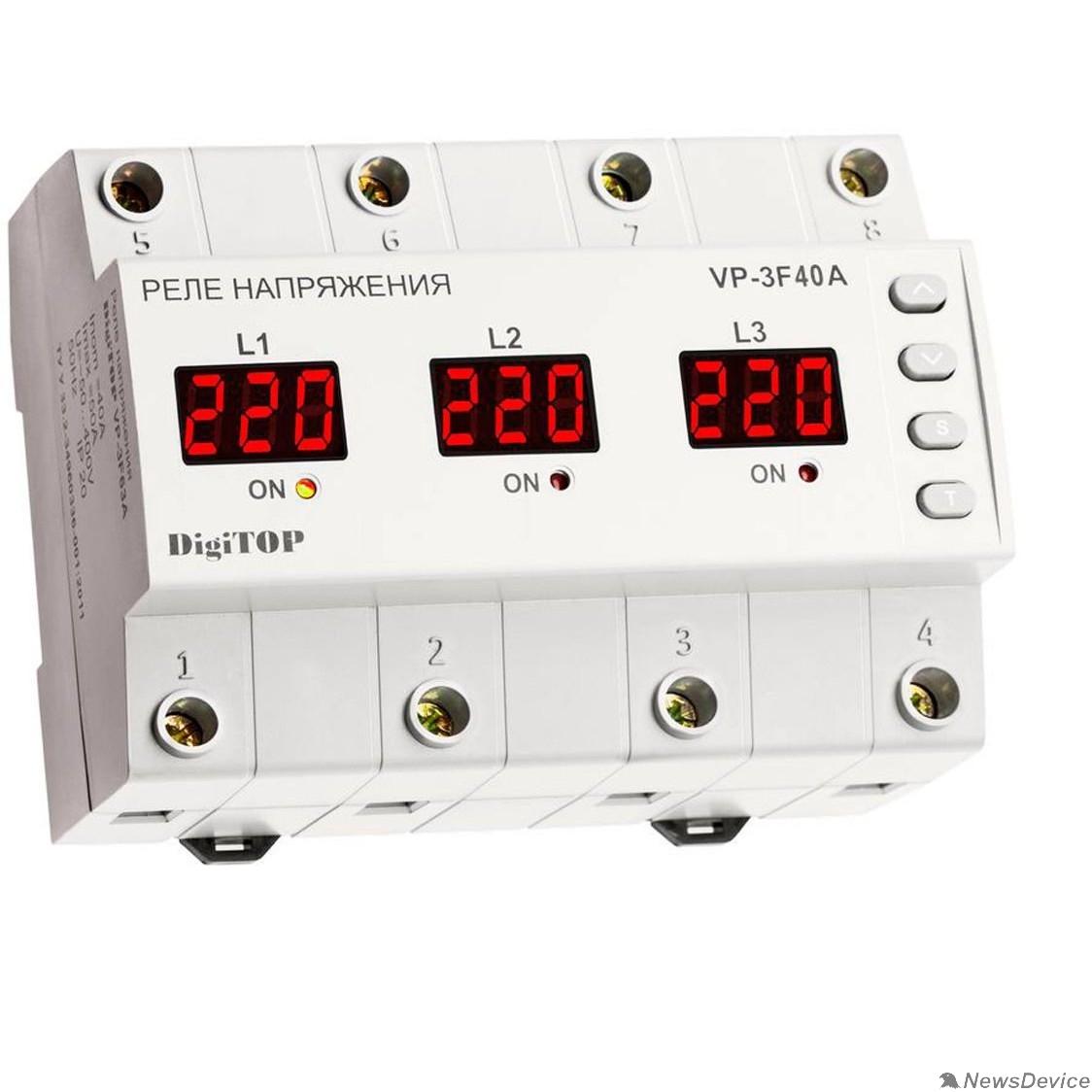 DigiTOP Реле, терморегуляторы, таймеры DigiTOP Vp-3F40A Реле напряжения трехфазное на DIN-рейку, 50-400В, макс. 50А, 5-600 сек.
