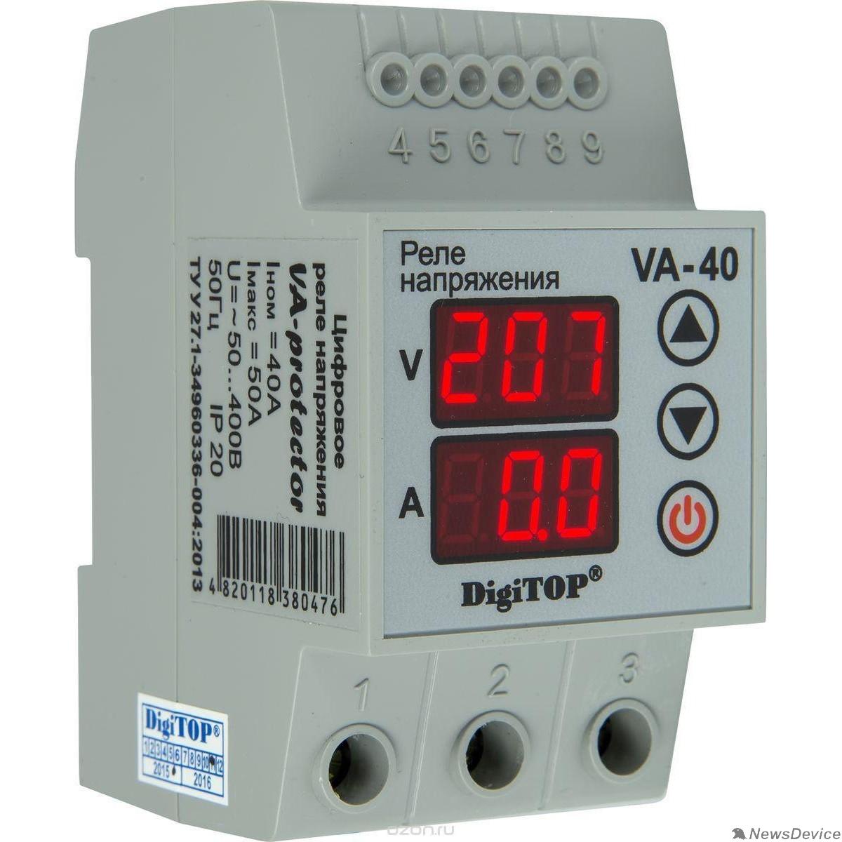 DigiTOP Реле, терморегуляторы, таймеры DigiTOP VA-40A Реле напряжения с контролем тока на DIN-рейку, 0-400В, макс. 50А, 5-600 сек.