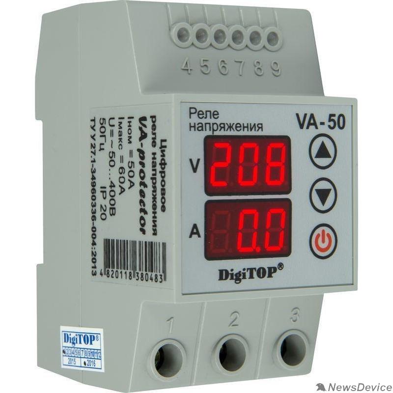DigiTOP Реле, терморегуляторы, таймеры DigiTOP VA-50A Реле напряжения с контролем тока на DIN-рейку, 0-400В, макс. 60А, 5-600 сек.