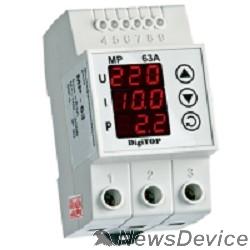 DigiTOP Реле, терморегуляторы, таймеры DigiTOP MP-63А  Реле многофункциональное на DIN-рейку, 0-400В, макс. 80А, 5-600 сек.