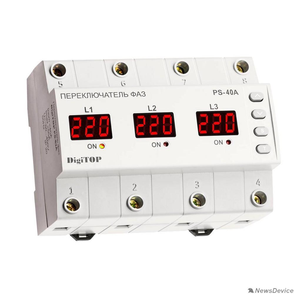 DigiTOP Реле, терморегуляторы, таймеры DigiTOP PS-40A Переключатель фаз на DIN-рейку, 50-400В, макс. 50А