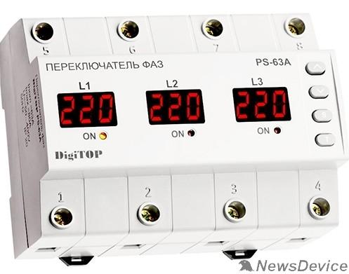 DigiTOP Реле, терморегуляторы, таймеры DigiTOP PS-63A Переключатель фаз на DIN-рейку, 50-400В, макс. 80А