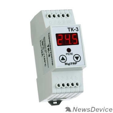 DigiTOP Реле, терморегуляторы, таймеры DigiTOP TK-3 Терморегулятор одноканальный на DIN-рейку, 6А, -55...+125С