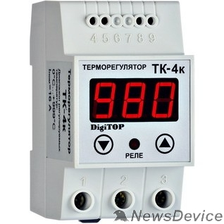 DigiTOP Реле, терморегуляторы, таймеры DigiTOP ТК-4к Терморегулятор одноканальный на DIN-рейку, 16А, 0...+999С