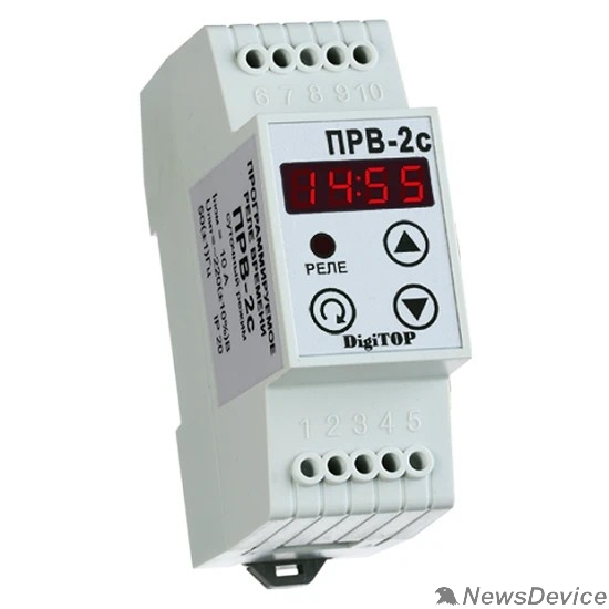 DigiTOP Реле, терморегуляторы, таймеры DigiTOP РВ-2c Программируемое реле времени (на DIN-рейку), суточное, макс 10А, 99 меток в сутки