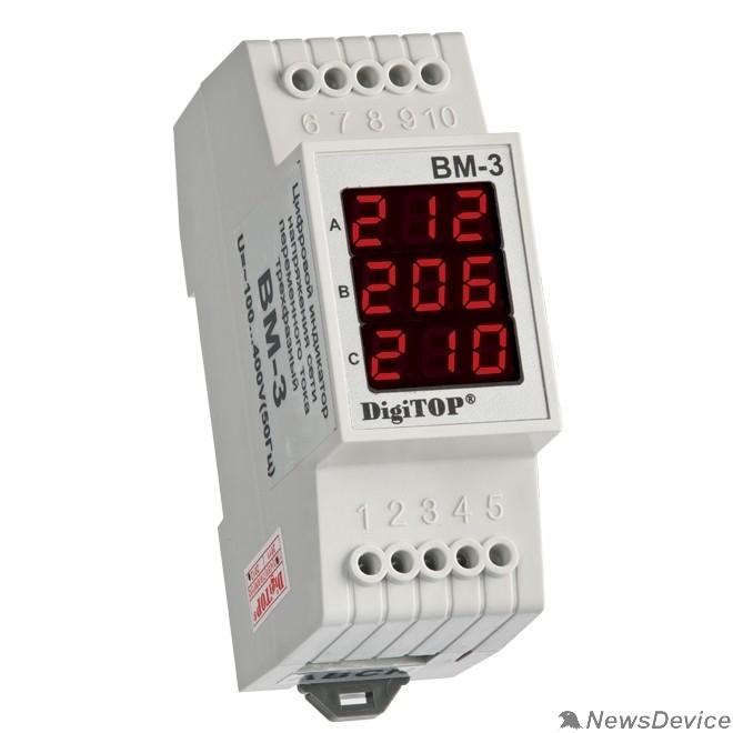DigiTOP Реле, терморегуляторы, таймеры DigiTOP Вм-3 (RED) Вольтметр на DIN-рейку, трехфазный, 40-400В
