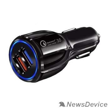 Аксессуар ORIENT CAR QC-12V2B Автомобильное зарядное устройство с функцией быстрой зарядки, поддержка Quick Charge 3.0, 2xUSB-A: QC выход - 5В,3.0A/ 9В,1.67А/ 12В,1.25А; 2 выход - 5В,2.0А, цвет черный