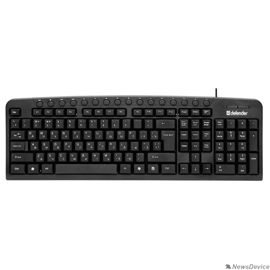 Клавиатура Defender Клавиатура  Focus HB-470 RU  45470 Проводная, черный, мультимедиа